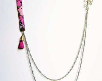 Liberty necklace double chain shades pink, purple, green and purple pink tassel