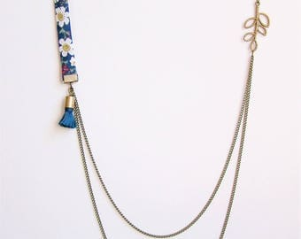 Liberty necklace double chain blue flowers and peacock blue Pompom