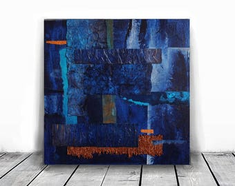 original painting, 12x 12 painting , navy blue and copper, 3D wall art,  contemporary art, original mix media triptych on canvas, indigo art