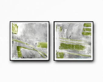 Abstract Art Print Set, Printable Art, Coastal Colors, Scandinavian Art, Set of 2 Prints, gray and green, industrial art, white,