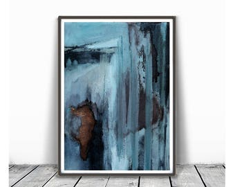 Abstract Wall Art Print, blue Painting, brown, Teal Decor, Modern Minimalist, Watercolour, Printable Digital Download, Large Poster