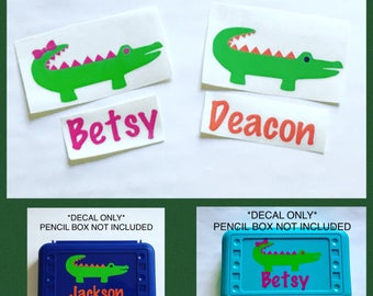 Alligator Name Decals ONLY, Back to School, School Supplies, Alligator, Decal, Vinyl Decal, Pencil Box, Alligator Pencil Box, Pencil Case,