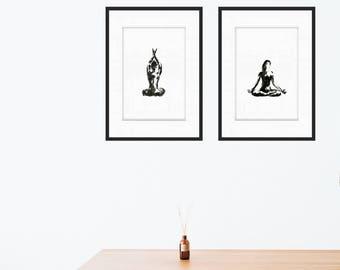 set of Illustrations -digital download- YOGA art A3 (42x29,7cm / 16,5x11,7inch)