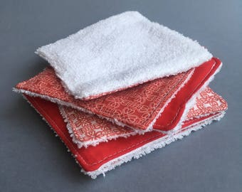 Reusable cleansing wipes - vendéen hearts (set of 6)