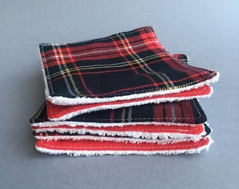 Reusable cleansing wipes - Plaid (set of 6)