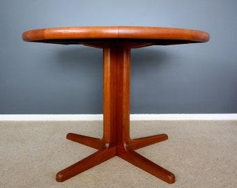 Vintage Danish Johs Kristoffersen Circular Teak Dining Table Retro Mid Century 50s 60s 70s