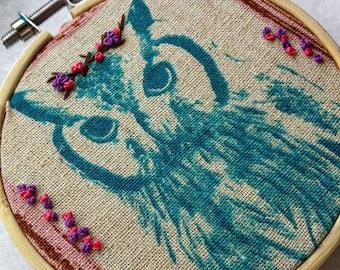 Owl or Deer Embroidery Hoop