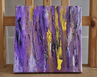 Abstract Drip Painting- Purple, Yellow and Gold