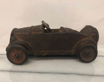 Vintage Metal Cast Iron Old Fashioned Car