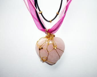 Pink, black, Brown, Heart Necklace rose quartz (gemstone) 4cm x 3 cm