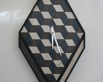 Grey Wooden Clock Wood Anniversary Unique Gift  Wooden Art Deco Clock Wall Clock Wooden Clocks Geometric Clock Fathers Day Gift Modern Clock