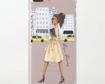 "Clear Slim Case ""New York Girl""  for iPhone, Samsung , LG, Huawei, fashion case, clear case, transparent case"