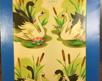 Meyercord Black/ White Swans Decal X302-C
