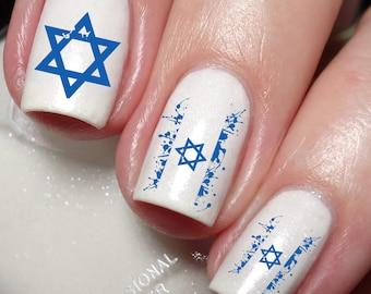 Israel Flag Splatter David Star Nail Art Water Transfer decal sticker Tattoo 55