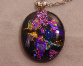 Multi Colored Dichroic Fused Glass on Black Glass