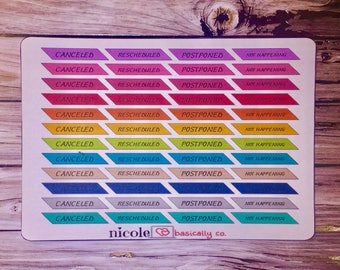 Cancled Reacheduled Postponed Not Happening Planner Stickers
