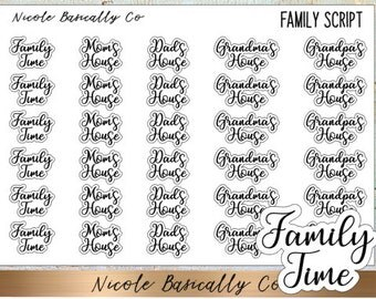 Family Time Mom's House Dad's House Grandma's House Grandpa's House Scriot Planner Stickers