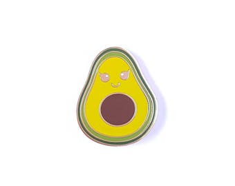 One Avocado enamel pin badge | Avocado kawaii lapel pin | Avocados | Wedding gift | Best friend gift | Foodie pin | Vegan pin | gift for her