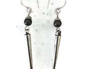 Long gray and metal point/spike dangle earrings