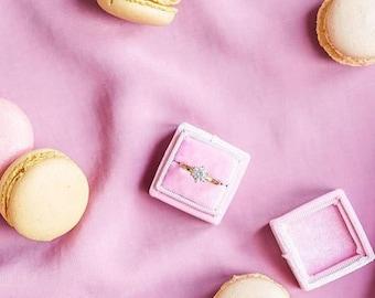Ring Box - Velvet Ring Box - Vintage Style - Proposal Ring Box - Engagement ring box - Wedding - Personalized Gift - Sugar Pink