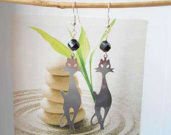 Cat steel black pearl earrings