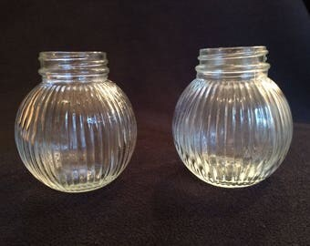 Hazel Atlas 1940's Glass Ball Salt and Pepper Jars