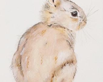 Watercolor Brown Bunny