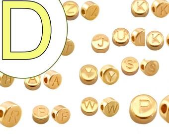 alphabet bead D 7mm gold plated #3867