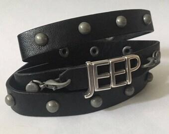 Handmade Silver Letter Jeep wrap Bracelet, studded Leather jeep bracelet, Jeep Cuff bracelet, jeep letter bracelet, leather wrap bracelet