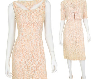 1940's Vintage Women's S Lace Sheath Dress w/ matching Bolero Jacket Peach Unique!