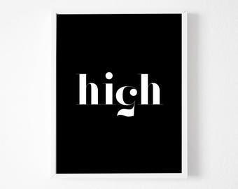 High Five Printable, High Five Poster, Minimalist ,Typography Print, Affiche Scandinave,  Scandinavian Design