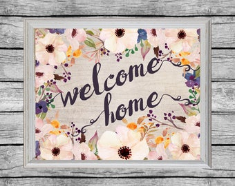 Wecome Home Poster. 16x20 Printable Art. Digital Download. Instant Download. Welcome Home Printable. Welcome Home Sign