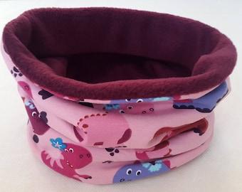 Children's Snood   Dinos Pink