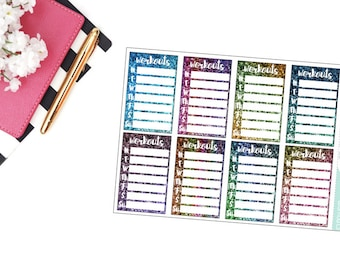 Workouts Weekly Tracker Planner Stickers