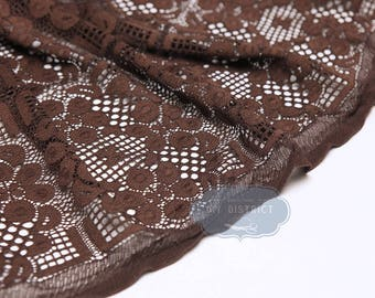 Brown stretch lace fabric