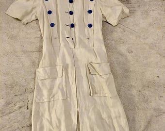 40's linen summer dress