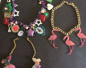 Resin Necklace butterflies necklace pink flamingos Necklace alice in wonderland
