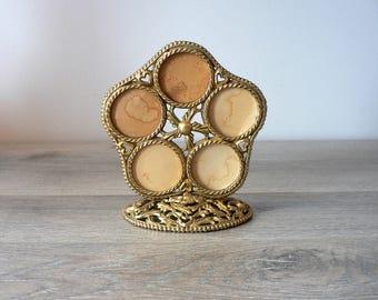 Vintage  50's Gold Filigree Metal Multi Photo Frame - 5 Photo Frame  - Ornate Gold Family Photo Frame - Ormolu Round Frame