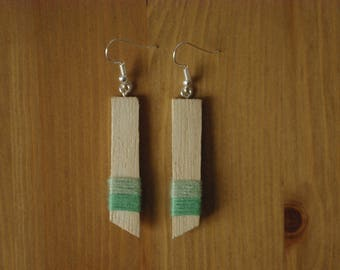 Cotton and simple wooden earrings