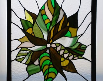 Stained Glass Window Panel/ Green Nugget