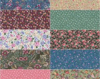 "Fat Quarter Bundle. Lot of 10 Multiple Color Pretty Cotton Floral Fabric FAT QUARTERS, Quilting, Sewing and Crafts. Each 18"" x 22"" in Size"