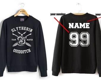 BEATER - Custom back Slyth Quidditch team Beater on Black Crew neck Sweatshirt