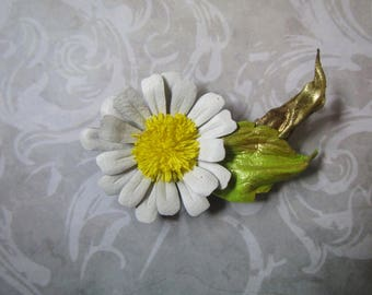 Chamomile Leather brooch, Daisy Brooch leather, Daisy brooch, Chamomile brooch-hairclip, Chamomile hairclip, Daisy hairclip, Chamomile