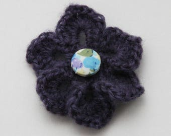 Brooch purple crochet - wool and Liberty Collection