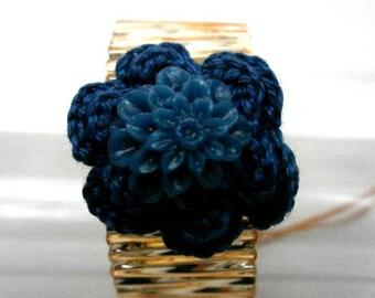 Hand crocheted blue flower ring