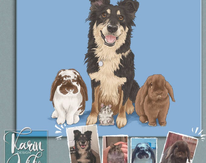 Featured listing image: Pet portrait, with fake frame mat. Detailed Pet Portraits. Custom portrait from photo. Custom drawing. Dog. Animals. Gift for.