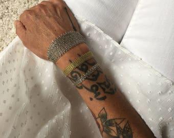 Cuff Bracelet delicate adjustable silver silk cord silver