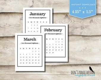 2018 Printable Desk Calendar - Black Rustic Font 12 Month Desk Calendar - 12 Month Printable Desk Calendar - Instant Download
