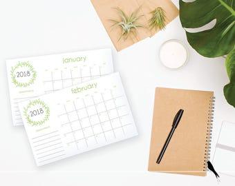 2018 Printable Monthly Calendar - Sweet Green leaf Wall or Desk Calendar - Home or Office organizing - 2018 Instant Download Calendar