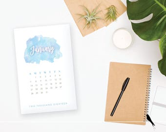 2018 Printable Monthly Calendar - Elegant Blue Watercolor 12 Month Desk Calendar - Home Organizing - 2018 Instant Download Calendar